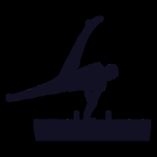 Gymnast man exercise vaulting horse pommel horse silhouette Transparent PNG