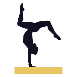Gymnast woman exercise balance beam silhouette
