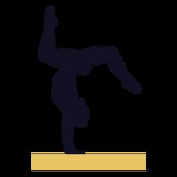 Silhueta de trave de equilíbrio de exercícios de ginasta