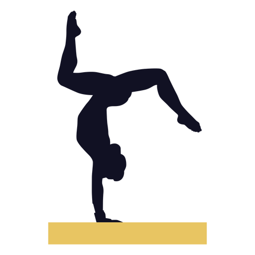 Gymnast woman exercise balance beam silhouette Transparent PNG