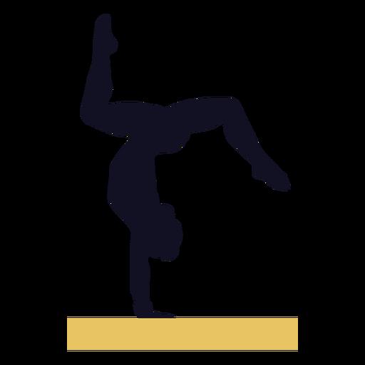 Silueta de viga de equilibrio de ejercicio de mujer gimnasta
