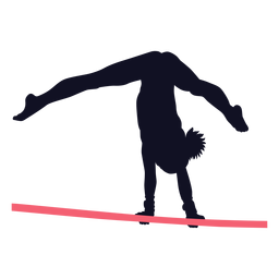 Gimnasta mujer ejercicio barra horizontal silueta