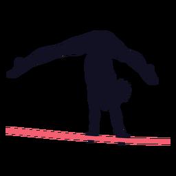 Ginasta mulher exercício barra horizontal silhueta