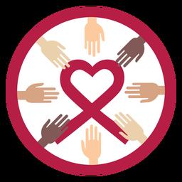 Hand heart badge sticker