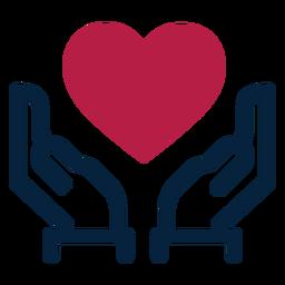 Silhueta de mão coração AVC