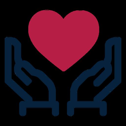 Hand heart stroke silhouette