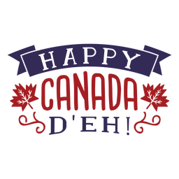 Happy canada d'eh ribbon maple leaf badge sticker