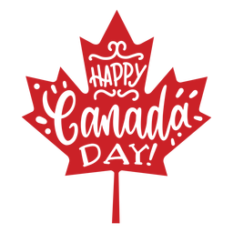 Happy canada day leaf maple badge sticker