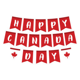 Happy canada day maple leaf badge sticker