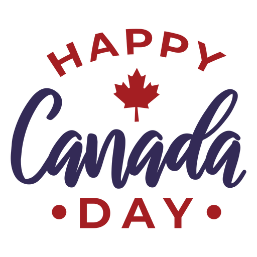 Happy canada day maple leaf sticker badge Transparent PNG