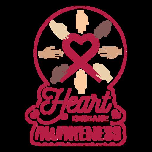 Herzkrankheits-Bewusstseinshandherz-Ausweisaufkleber Transparent PNG