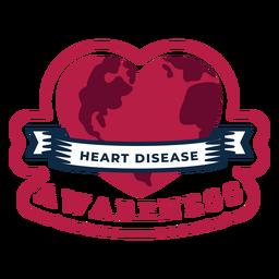 Adesivo de distintivo de coração de consciência de doença cardíaca