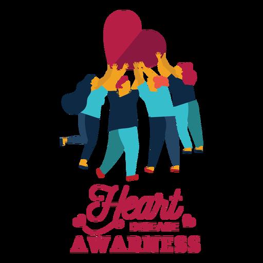 Heart disease awareness heart man woman badge sticker