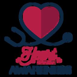 Adesivo de emblema de estetoscópio de coração de consciência de doença cardíaca