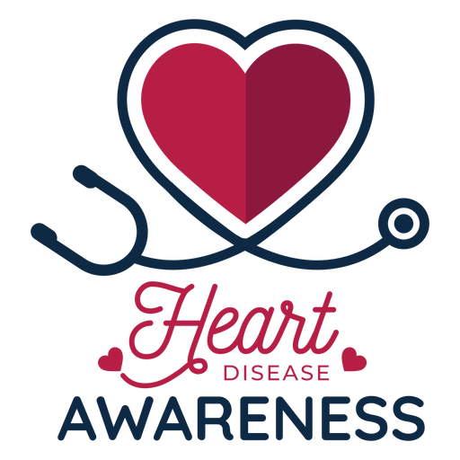 Heart disease awareness heart phonendoscope badge sticker Transparent PNG