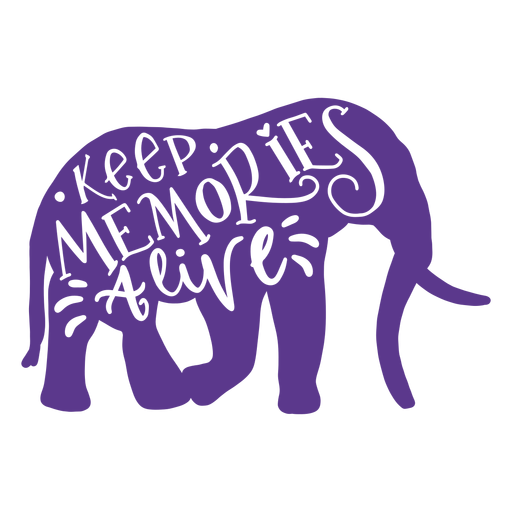 Mantenga los recuerdos vivos insignia de la etiqueta engomada del elefante