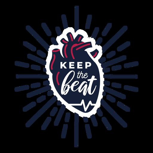 Halten Sie die Gesundheit des Herzschlag-Abzeichens auf Transparent PNG