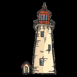 Bosquejo coloreado de la cabaña de la torre del faro del faro