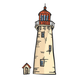 Lighthouse beacon tower hut colored sketch