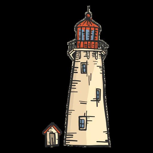 Bosquejo coloreado de la cabaña de la torre del faro del faro Transparent PNG