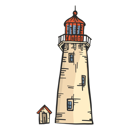Lighthouse beacon tower hut colored sketch Transparent PNG
