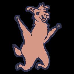 Lhama pulando feliz traço plana