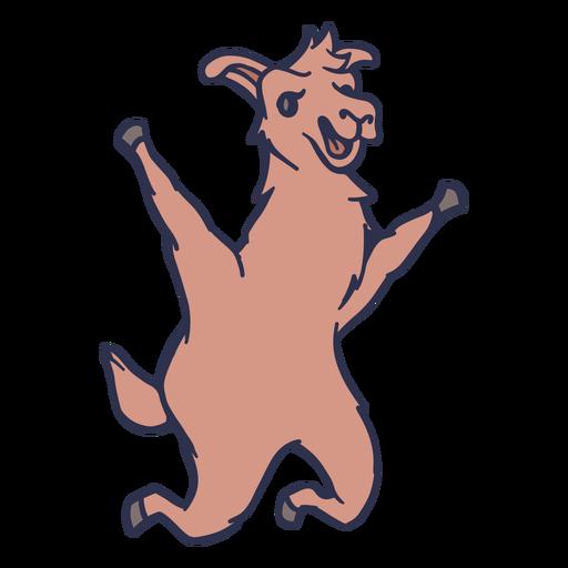 Llama saltando feliz trazo plano Transparent PNG