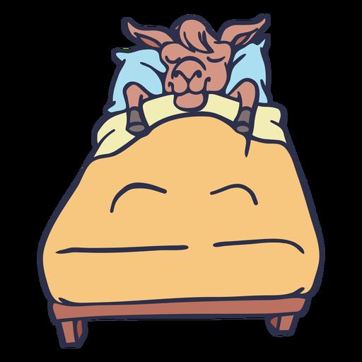 Llama cama para dormir trazo plano