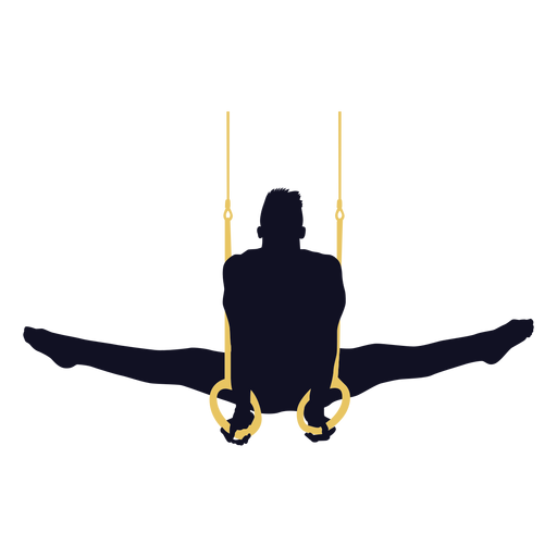 Man gymnast exercise still rings silhouette