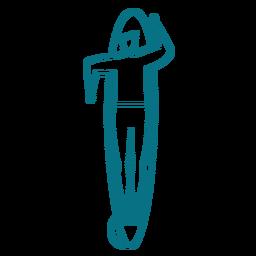 Hombre nadando tabla de surf