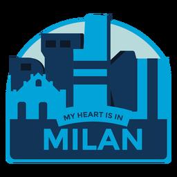 Autocolante de Milão meu coração está em Milão