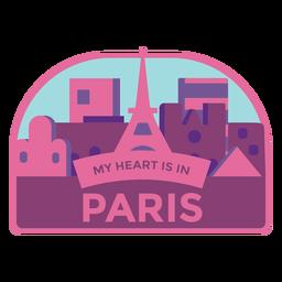 Paris meu coração está na torre eiffel de paris adesivo