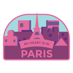 Paris my heart is in paris eiffel tower sticker