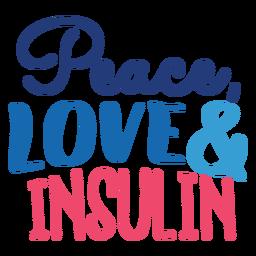 Autocolante de emblema de paz, amor e insulina