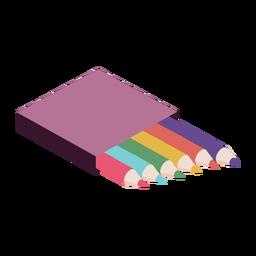 Caja de lápices color color plano