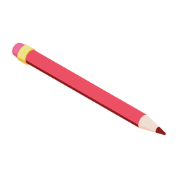 Pencil red eraser slate pencil flat