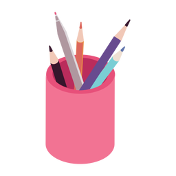 Pencil soft tip pen pot flat