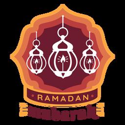 Etiqueta engomada de la insignia de la luz de la lámpara de la vela de Ramadán Mubarak