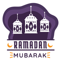 Ramadan mubarak candle lamp light lantern badge sticker