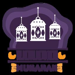 Ramadán Mubarak vela lámpara luz linterna insignia pegatina