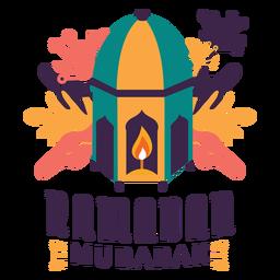 Ramadan Mubarak Kerze Laterne Lampe Licht Abzeichen Aufkleber