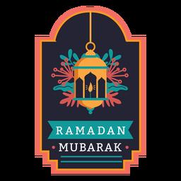 Etiqueta engomada de la insignia de la lámpara de la luz de la vela de Ramadán Mubarak