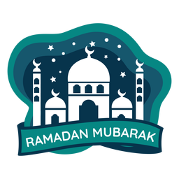 Ramadan mubarak crescent half moon mosque sticker badge