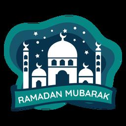Ramadan mubarak crescent media luna mezquita adhesivo insignia