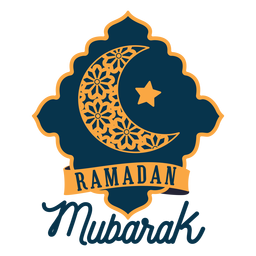 Ramadan mubarak crescent half moon star sticker badge