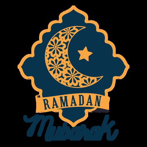 Ramadan mubarak crescent half moon star sticker badge Transparent PNG