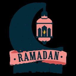 Insignia de la etiqueta engomada de la vela de la luz de la lámpara de la media luna de Ramadán mubarak