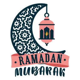 Ramadan mubarak crescent lamp light candle sticker badge