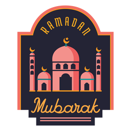 Ramadan mubarak crescent mosque half moon badge sticker