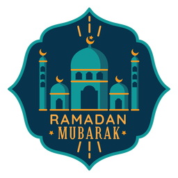 Ramadan mubarak crescent mosque star sticker badge
